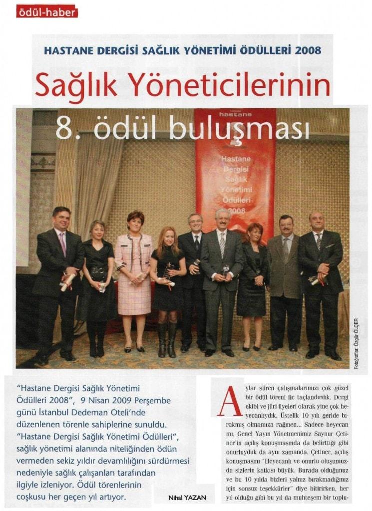 HASTANE DERGİSİ SAĞLIK YÖNETİMİ ÖDÜLLERİ 2008