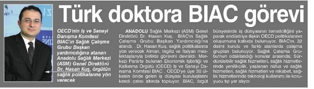 TÜRK DOKTORA BIAC GÖREVİ