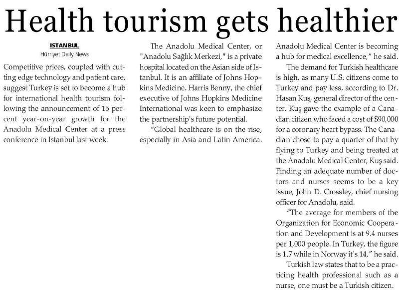 HEALTH TOURISM GETS HEALTHIER