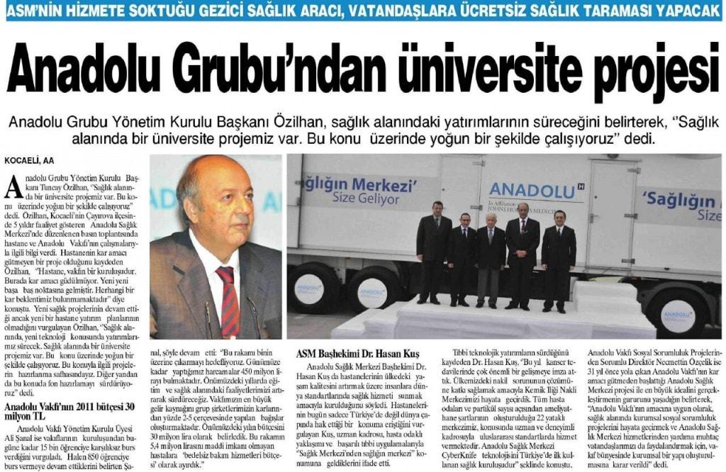 ANADOLU GNIBU'NDAN ÜNİVERSİTE PROJESİ