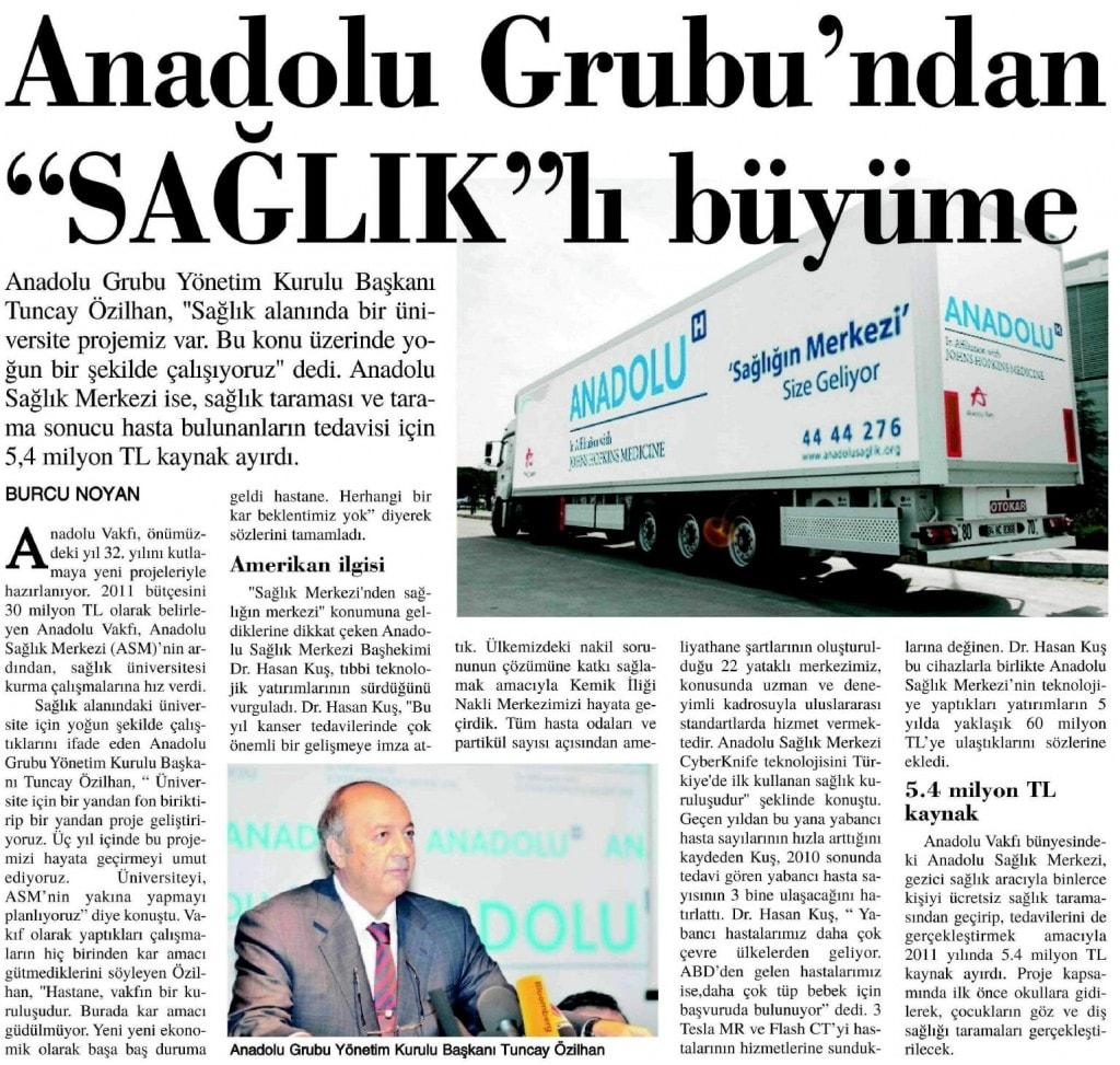 """ANADOLU GRUBU'NDAN """"SAĞLIK""""LI BÜYÜME"""