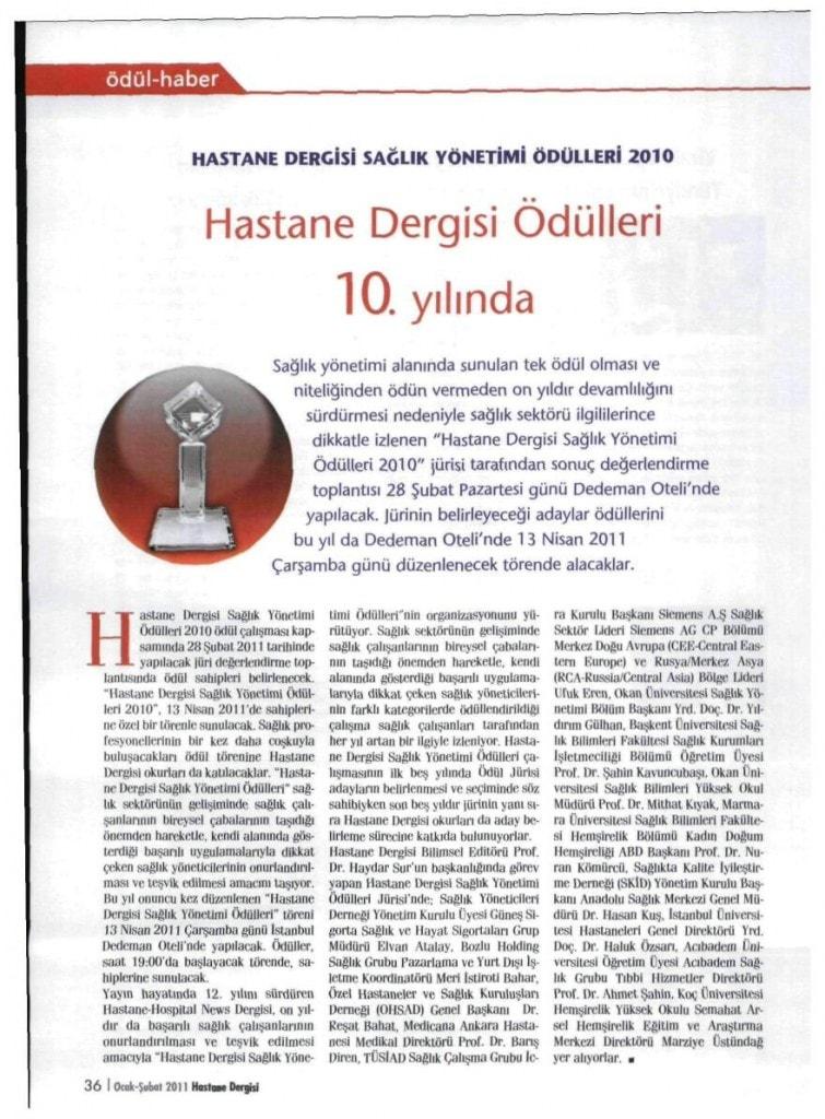 HASTANE DERGİSİ ÖDÜLLERİ 10 YILINDA
