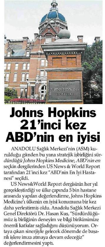 JOHNS HOPKİNS 21'İNCİ KEZ ABD'NİN EN İYİSİ